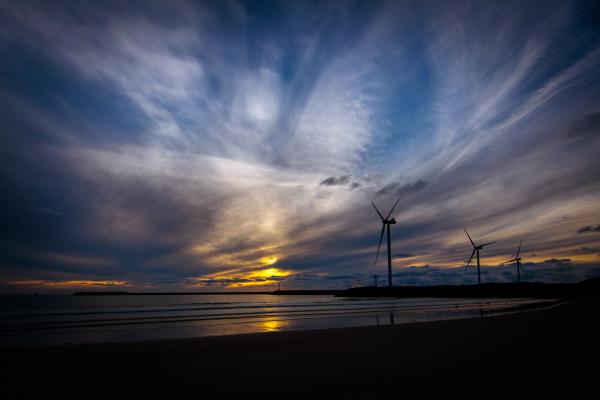 Solnedgang Hvide Sande ved havet